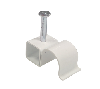 COATED STEEL METAL CABLE CLIPS WHITE 8.75MM