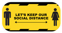 inchLETS KEEP OUR DISTANCEinch REMINDER ADHESIVE YELLOW 300MM
