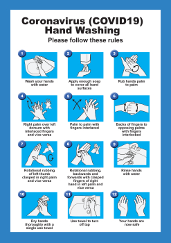 InchHAND WASHINGInch POSTER BLUE ADHESIVE - REMOVEABLE A4