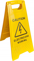 """CAUTION ELECTRICIANS WORKING"" SAFETY SIGN"