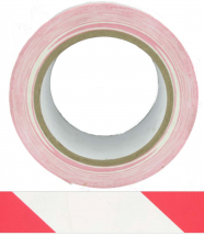 HAZARD TAPE RED / WHITE - ADHESIVE